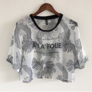 H&M Divided French Palm Sheer Graphic Top Size 14